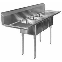 "3-Hole Sink, NSF, 18"" x 18"" Bowls, with 2-18"" Drainboards, Economy"