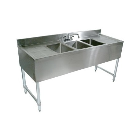 """60"""" 3-Hole UnderBar Sink, with 2 DrainBoards"""