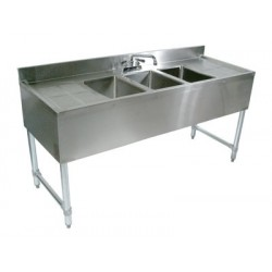"""72"""" 3-Hole UnderBar Sink, with 2 DrainBoards"""