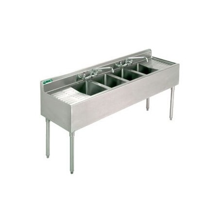 """72"""" 4-Hole UnderBar Sink, with 2 DrainBoards"""