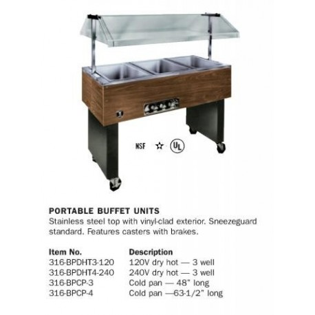 Buffet Steam Table, Electric, 48 in.