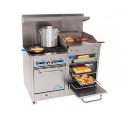 """Comstock Castle Range 48"""", 4 burner, 24"""" Griddle/Broiler, Double Oven"""