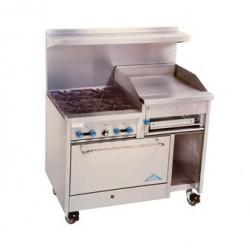 """Comstock Castle Range 48"""", 4 burner, 24"""" Griddle/Broiler, Single Oven"""