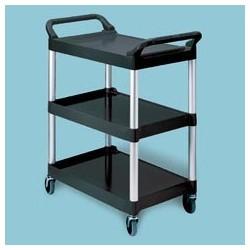 Three Shelf Light Duty Utility Cart with Brushed Aluminum Uprights