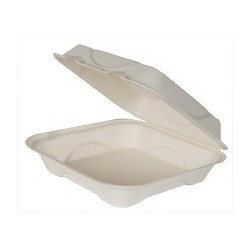 "9"" Large Harvest Carryout Container, Compostable, 1-Compartment"