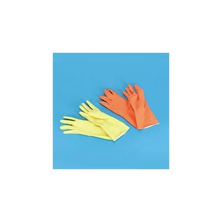 Orange Reusable Flock Lined Gloves, Medium