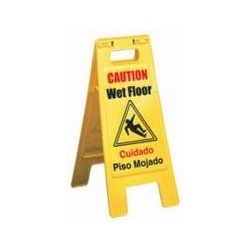 Wet Floor Sign, A-Frame, Plastic, Yellow