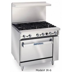 "IR-6 Restaurant Range, 36"", Gas, 6 Open Burners"