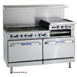 """Restaurant Range, Gas, 60"""" wide, (6) Open Burners, 24"""" Broiler/Griddle"""