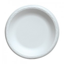 "9"" China Foam Luncheon Plate, White, Plain"
