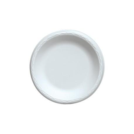 "9"" China Foam Luncheon Plate, White, Plain"