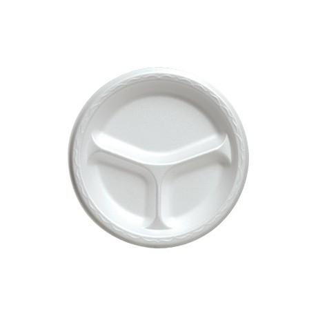 "10-1/4"" China Foam Dinner Plate, White, Divided"