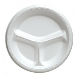 "9"" China Foam Luncheon Plate, White, Divided"