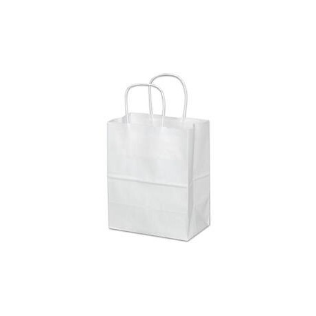 Tempo White Paper Shopping Bag w/Twist Handle