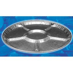 "12"" Aluminum Caterware Embossed Lazy Susan 5-Comp Tray"