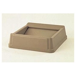Square Top,  Flip Top For Untouchable Trash Waste Container, Beige