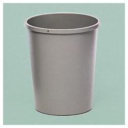 Round Plastic Wastebasket, 44-3/8 Qt., Gray