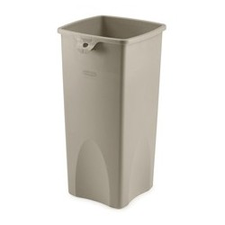 Square Waste Container, 23-Gal, Beige