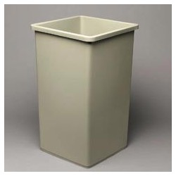 Untouchable Square Trash Container, 50-gal., Beige