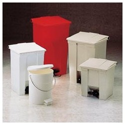 Fire-Safe Plastic Step-On Receptacle, Round, White, 4-1/2 gal.