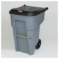 Brute Ergonomic Roll Out Containers, 95-Gal Gray