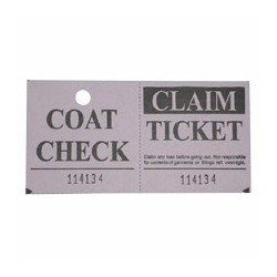 Two-part Coat Room Check Tickets