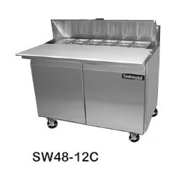 "Sandwich Unit, 48"", Two-section, (12) 1/6 Size Pans"