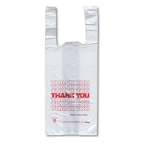 T-Shirt Grocery Bags, Plastic, 1/6 Bushel, White