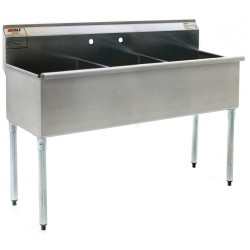 3-Hole Utility Sink, Non NSF, No Drainboards  57""