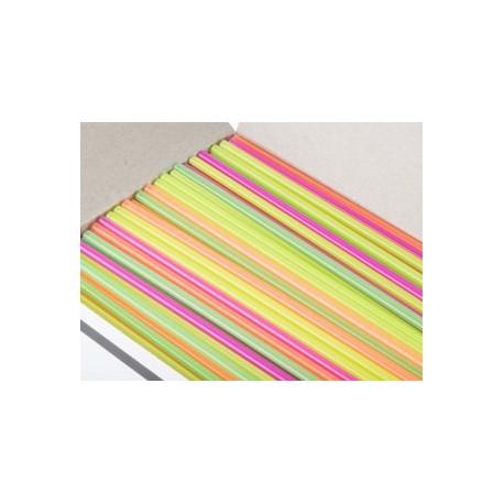 "Plastic Collins Straws, 7-3/4"", Neon"