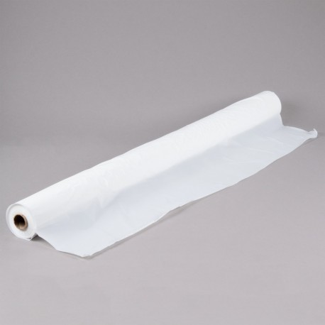 "Plastic Table Covering, 40"" x 300', White"