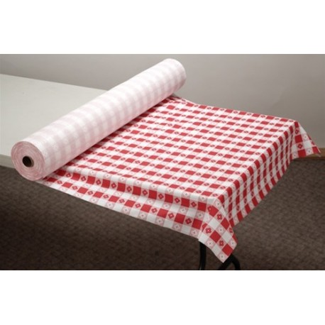Plastic Disposable Table Covering. Red Gingham