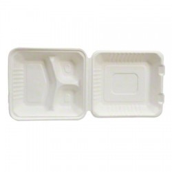 "9"" Large Empress Carryout Container, Compostable, 3-Compartment"