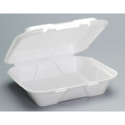 Foam Hinged Carry Out Containers, Large, Plain