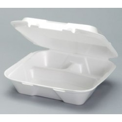 Foam Hinged Carry Out Containers, Large, Divided