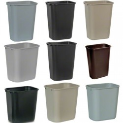 Soft Molded Plastic Wastebaskets,  28-1/8 Qt., Black