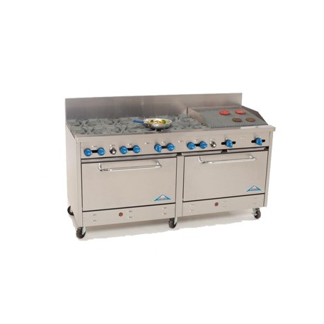 "Comstock Castle Range 72"", 8 burners, 24"" char-broiler"