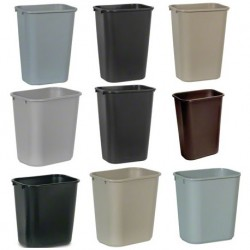 Soft Molded Plastic Wastebaskets, 13-5/8 Qt., Black