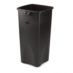 Square Waste Container, 23-Gal, Black