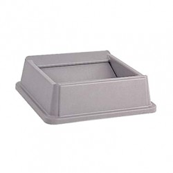 Square Top,  Flip Top For Untouchable Trash Waste Container, Gray