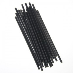 "7 3/4"" Jumbo Unwrapped Straws, Black"