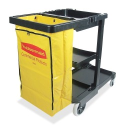 Janitor Cart With Zipper Yellow Vinyl Bag