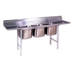 """3-Hole Sink, NSF, with 2-18"""" Drainboards"""