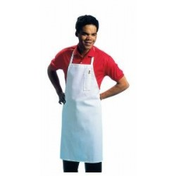 Economy Bib Apron, poly/cotton blend fabric, White.