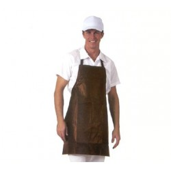 "Bib Apron, heavyweight vinyl w/cotton knit backing, 25""  x 28"". Dark brown (BR)"