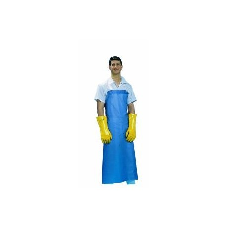 "Dishwashing Apron, Vinyl, No Pockets, 36"" x 45"", Blue."