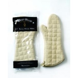 Oven Mitt, heavy duty institutional grade terry cloth, 17 inch, tan. 1 pair
