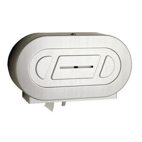 "9"" Twin Jumbo-Roll Toilet Tissue Dispenser, Stainless"