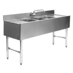 "72"" 3-Hole UnderBar Sink, with 2 DrainBoards"