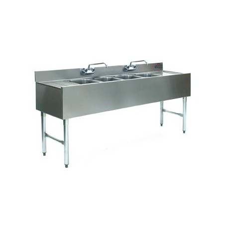 "72"" 4-Hole UnderBar Sink, with 2 DrainBoards"